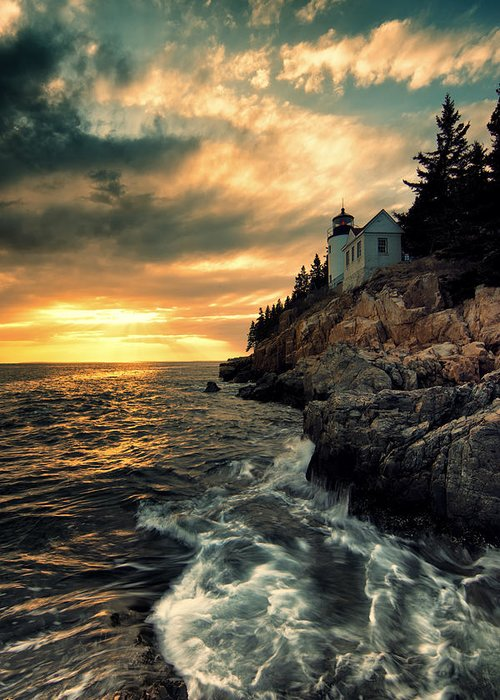 Bass Harbor Lighthouse Greeting Card featuring the photograph Solitude by Chad Tracy