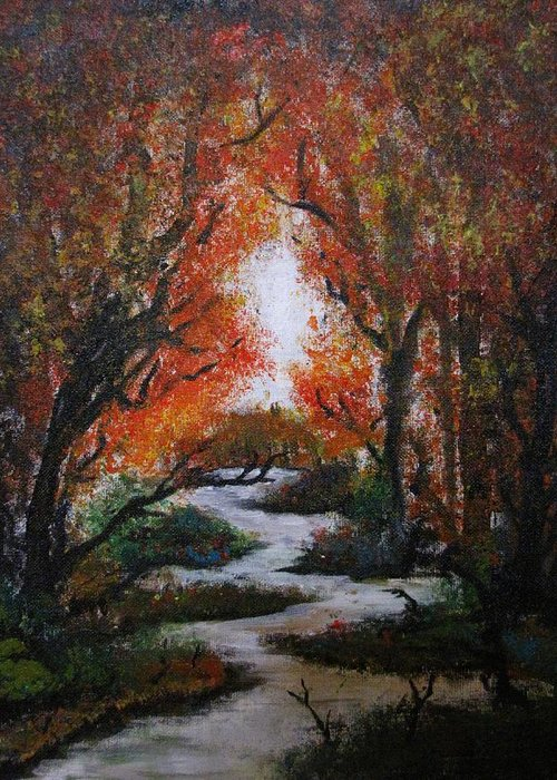 Fall Trees With Stream. Greeting Card featuring the painting Solitude by Pheonix Creations