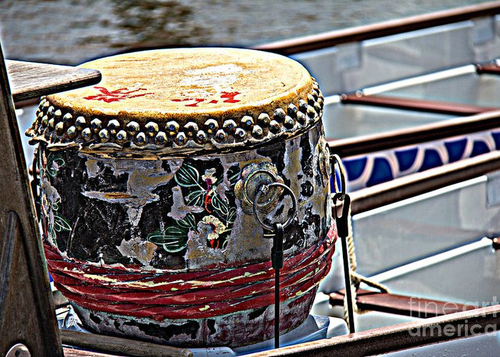 Dragon Boating Greeting Card featuring the photograph Solo Drum Hdr by Conni Walker