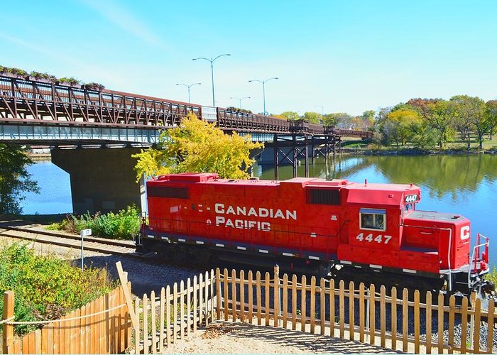 Solo Greeting Card featuring the photograph Solo Red Canadian Pacific Engine Along Rock River In Rockford by Jeff at JSJ Photography
