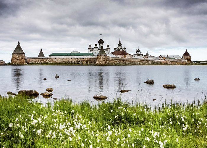 Grass Greeting Card featuring the photograph Solovetsky Monastery At Holy Lake by Mordolff