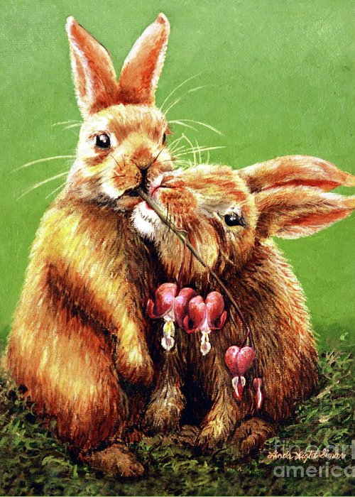 Bunny Greeting Card featuring the painting Some Bunny Loves You by Linda Simon