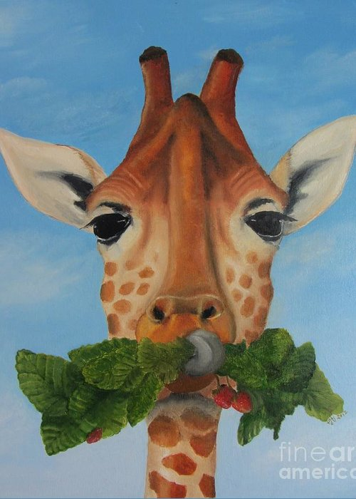 Giraffe Greeting Card featuring the drawing Someone Is Eating My Garden by Pam Fries