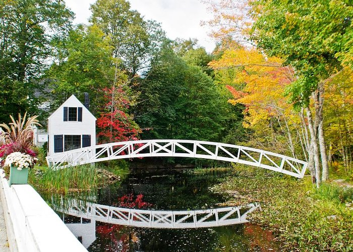 Autumn Greeting Card featuring the photograph Somesville Bridge In Autumn by Lena Hatch
