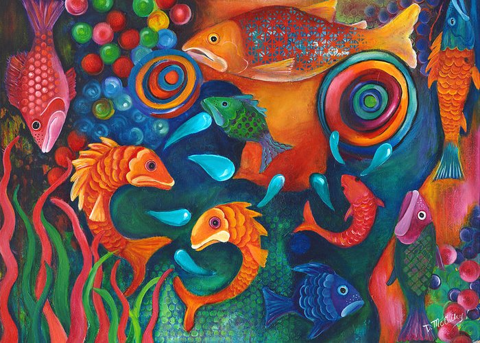 Salmon Greeting Card featuring the painting Something's Fishy by Debbie McCulley