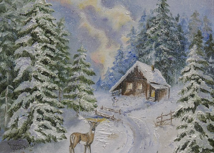 Deer Roe Painting Canvas Print Greeting Card featuring the painting Somewhere In The Snowy Forest by Iliyana Lazarova