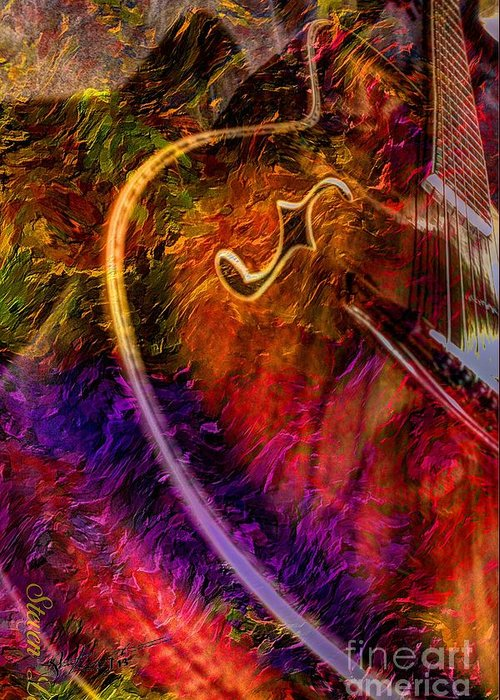 Acoustic Greeting Card featuring the photograph Song And Dance Digital Guitar Art By Steven Langston by Steven Lebron Langston