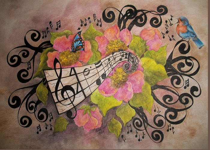 Music Greeting Card featuring the painting Song Of My Heart And Soul by Meldra Driscoll