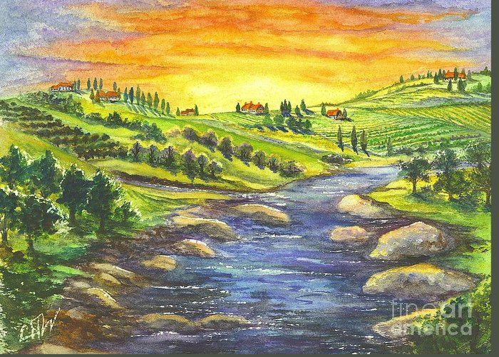 Villa Greeting Card featuring the painting Sonoma Country by Carol Wisniewski