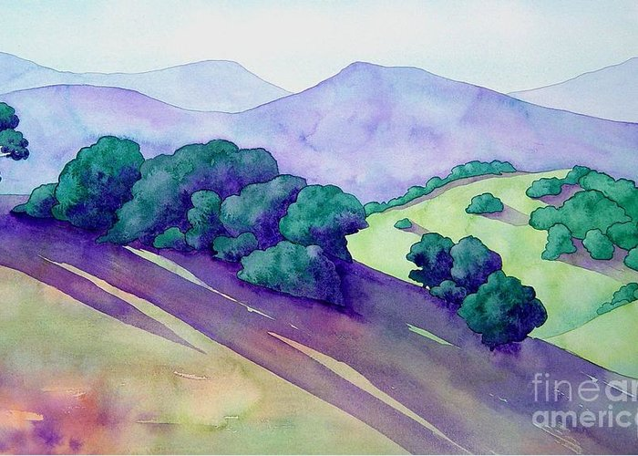 Watercolor Greeting Card featuring the painting Sonoma Hills by Robert Hooper