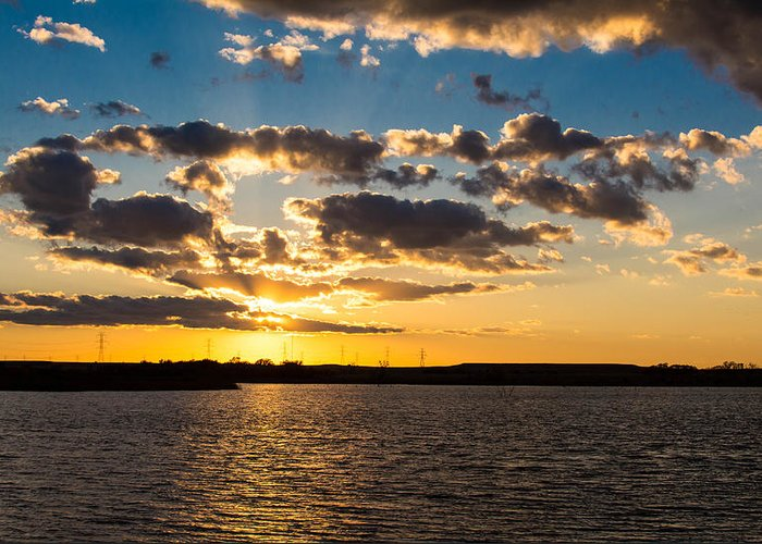Sunset Greeting Card featuring the photograph Sooner Lake Sunset by Nathan Hillis