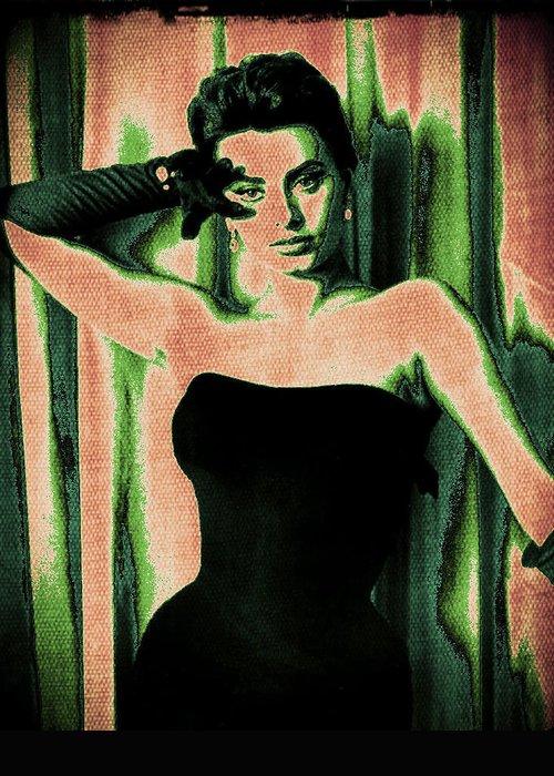 Sophia Loren Greeting Card featuring the digital art Sophia Loren - Green Pop Art by Absinthe Art By Michelle LeAnn Scott