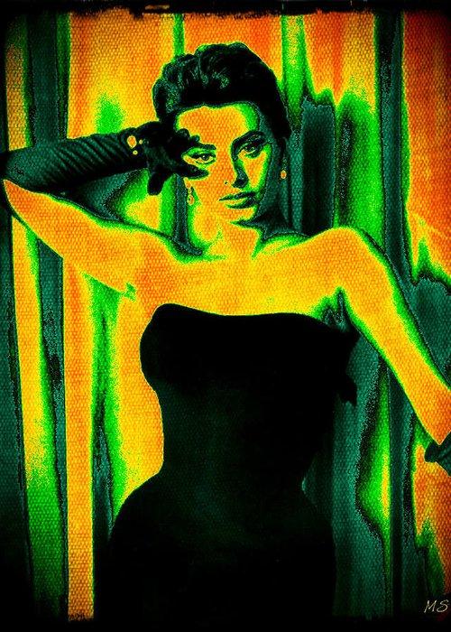 Sophia Loren Greeting Card featuring the digital art Sophia Loren - Neon Pop Art by Absinthe Art By Michelle LeAnn Scott