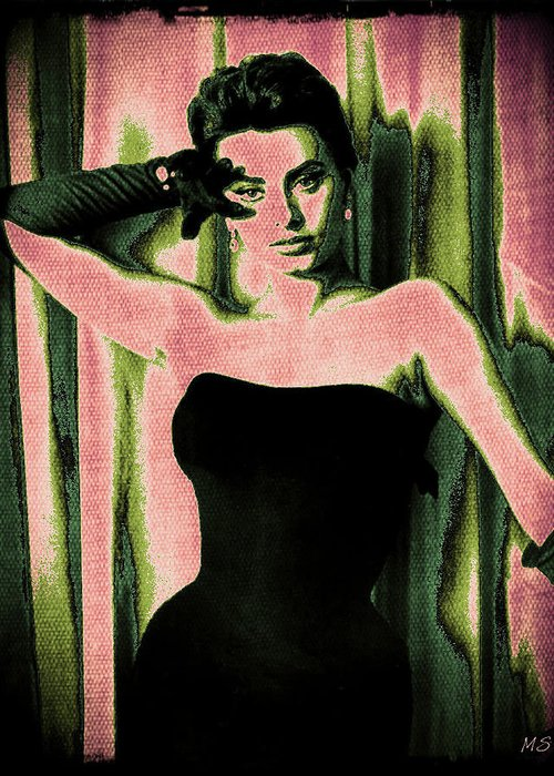 Sophia Loren Greeting Card featuring the digital art Sophia Loren - Pink Pop Art by Absinthe Art By Michelle LeAnn Scott