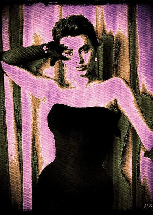 Sophia Loren Greeting Card featuring the digital art Sophia Loren - Purple Pop Art by Absinthe Art By Michelle LeAnn Scott