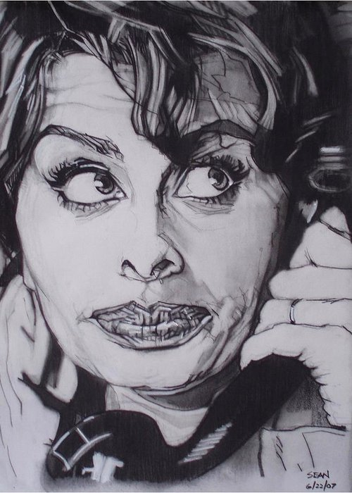 Charcoal;icon;actress;diva;italian;cat Eyes;beautiful;cute;adorable Greeting Card featuring the drawing Sophia Loren Telephones by Sean Connolly