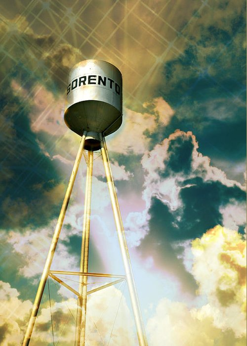 Water Tower Greeting Card featuring the photograph Sorento Illinois Tower by Marty Koch