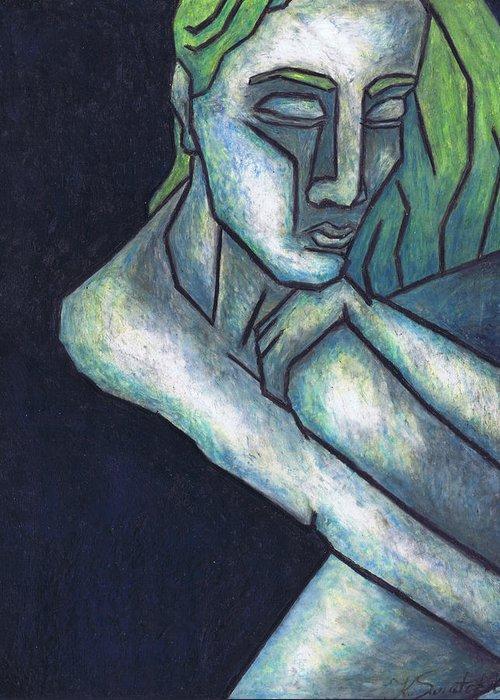 Sorrow Greeting Card featuring the painting Sorrow by Kamil Swiatek