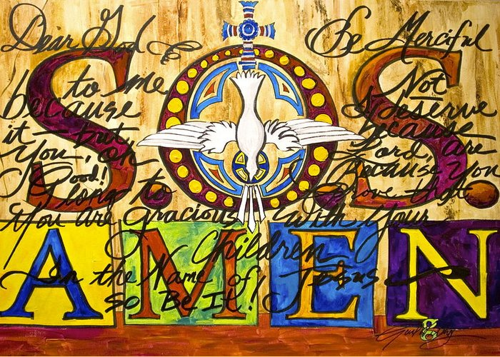 Prayer Greeting Card featuring the painting S.o.s. Amen by Gail Denney Shelton