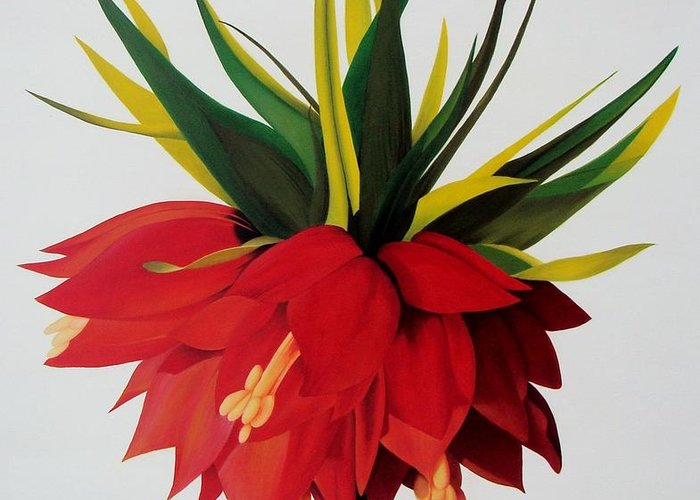 Flower Greeting Card featuring the painting Sotogrande by Rocio Arrospide