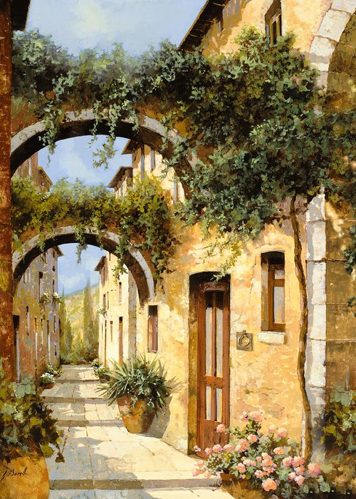 Arch Greeting Card featuring the painting Sotto Gli Archi by Guido Borelli