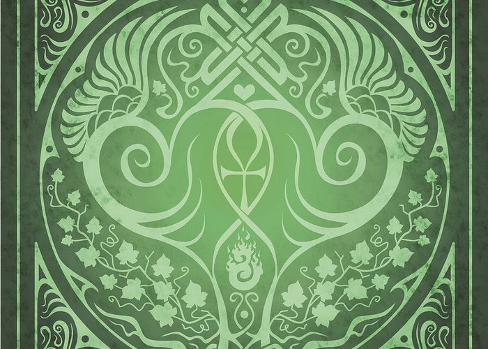 Soul Mates Greeting Card featuring the digital art Soul Mates - Green by Cristina McAllister