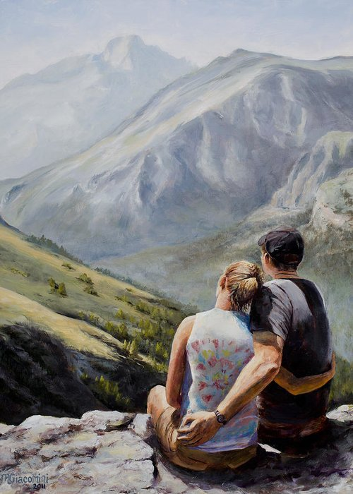 Longs Peak Greeting Card featuring the painting Soul Mates by Mary Giacomini