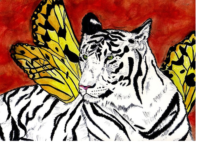 Tiger Greeting Card featuring the painting Soul Rhapsody by Crystal Hubbard
