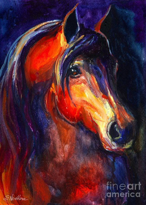 Arabian Horse Greeting Card featuring the painting Soulful Horse Painting by Svetlana Novikova