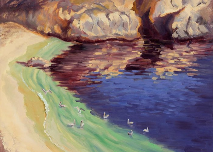 Point Lobos Greeting Card featuring the painting Soulful Sanctuary Point Lobos by Karin Leonard