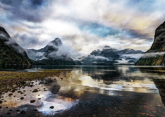 Scenics Greeting Card featuring the photograph Sound Asleep | Fiordland, New Zealand by Copyright Lorenzo Montezemolo