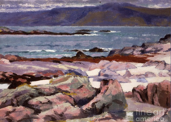 Cadell Greeting Card featuring the painting Sound Of Iona The Burg From The North Shore by Francis Campbell Boileau Cadell
