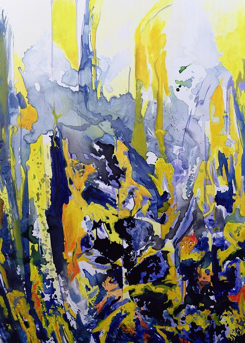 Abstract; Blue; Yellow Greeting Card featuring the painting Sounds So Soothing by Thomas Hampton