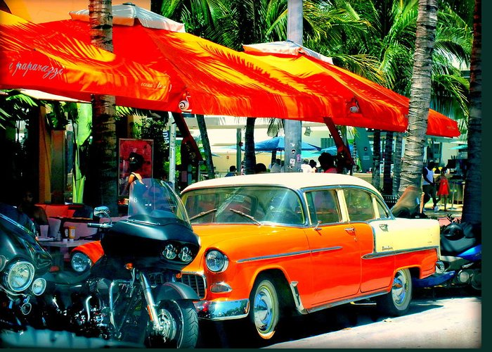 South Beach Greeting Card featuring the photograph South Beach Flavour by Karen Wiles