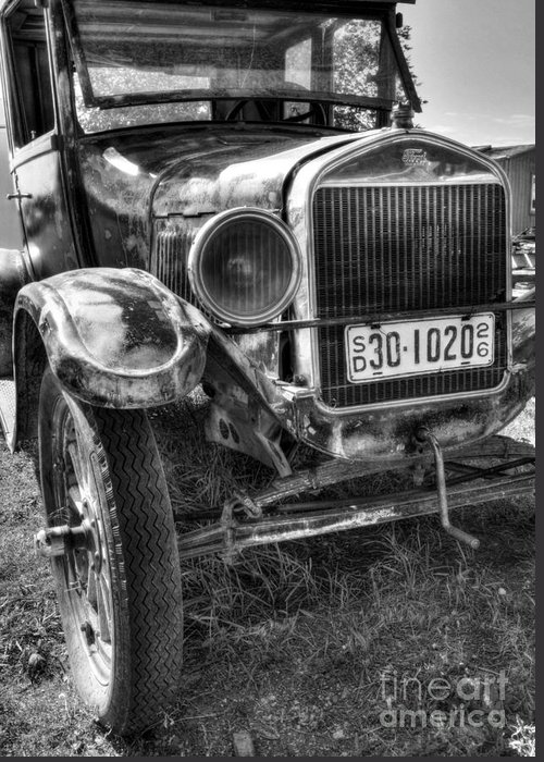 Old Cars Greeting Card featuring the photograph South Dakota Classic Bw by Mel Steinhauer