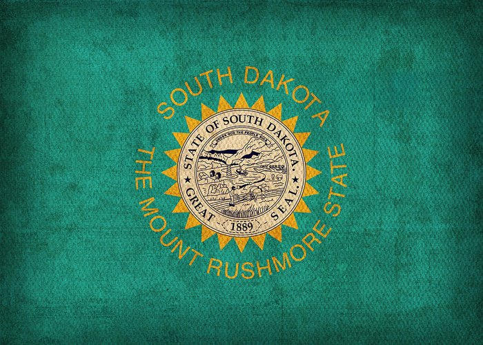 South Greeting Card featuring the mixed media South Dakota State Flag Art On Worn Canvas by Design Turnpike