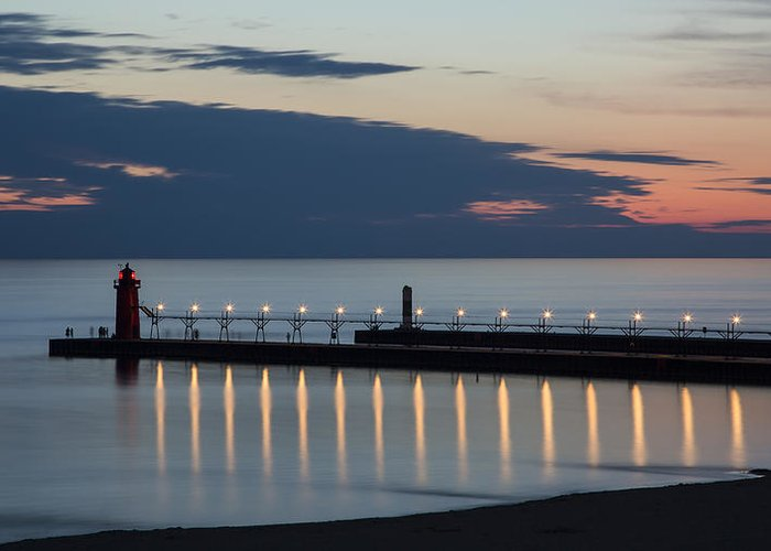 3scape Photos Greeting Card featuring the photograph South Haven Michigan Lighthouse by Adam Romanowicz