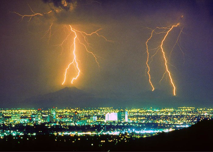 Lightning Greeting Card featuring the photograph South Mountain Lightning Strike Phoenix Az by James BO Insogna