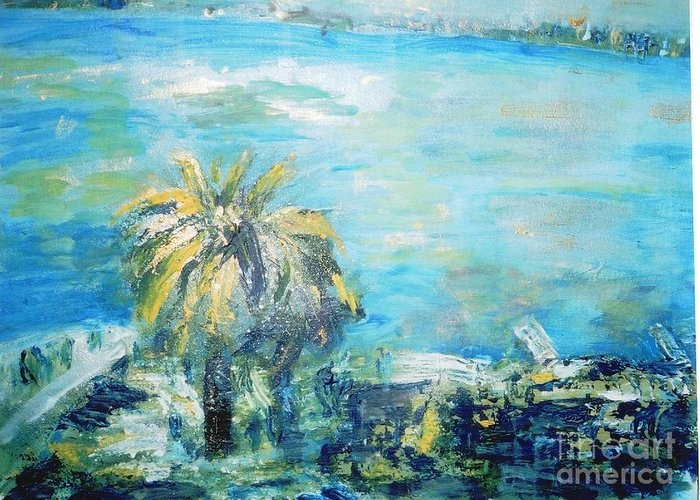 Seascape Greeting Card featuring the painting South Of France  Juan Les Pins by Fereshteh Stoecklein
