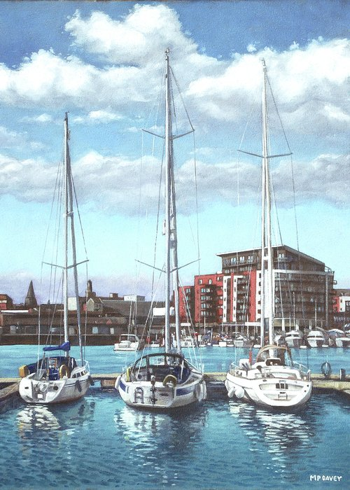 Southampton Greeting Card featuring the painting Southampton Ocean Village Marina by Martin Davey