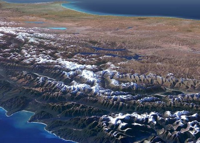 Panoramic Greeting Card featuring the photograph Southern Alps, New Zealand, 3d Artwork by Science Photo Library