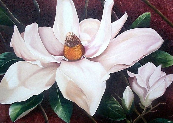 Magnolia Southern Bloom Floral Botanical White Greeting Card featuring the painting Southern Beauty by Karin Dawn Kelshall- Best