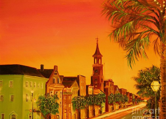 City Greeting Card featuring the painting Southern Eve by Barbara Hayes