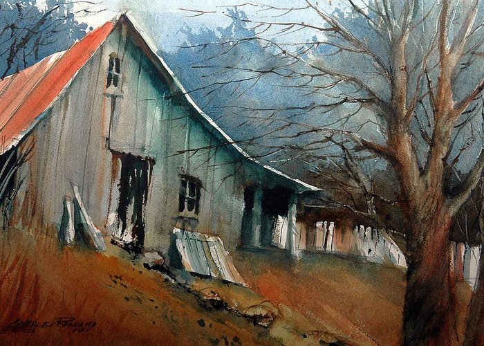 Barn Greeting Card featuring the painting Southern Ohio Farm Yard by Charles Rowland