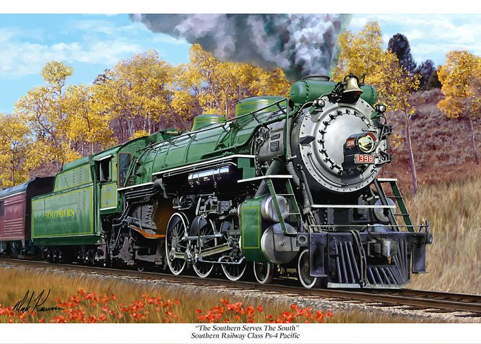 Railraod Greeting Card featuring the painting Southern Railway Class Ps-4 Pacific by Mark Karvon