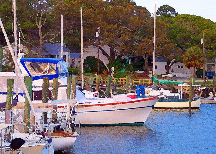 Boats Greeting Card featuring the digital art Southport Watercolor by Garland Johnson