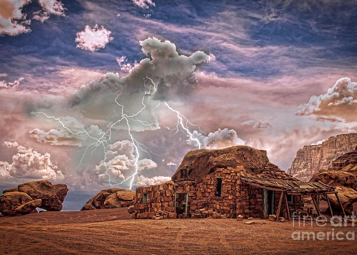 Rock House Greeting Card featuring the photograph Southwest Navajo Rock House And Lightning Strikes Hdr by James BO Insogna