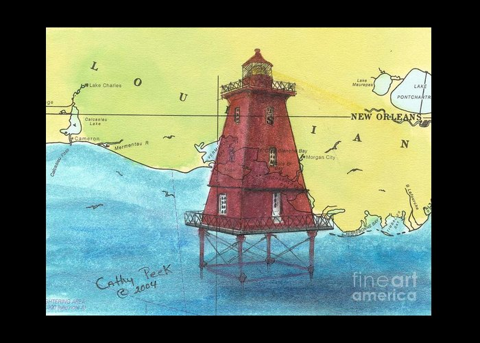 Sw Greeting Card featuring the painting Southwest Reef Lighthouse La Nautical Chart Map Art Cathy Peek by Cathy Peek