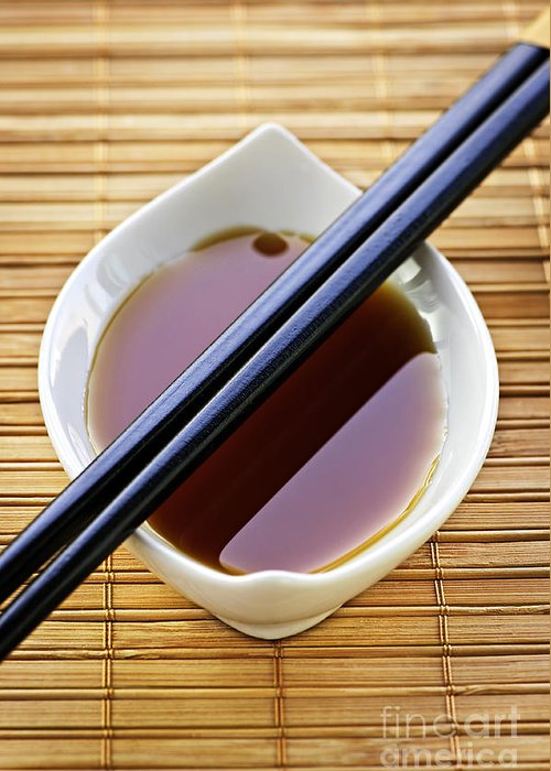 Chopsticks Greeting Card featuring the photograph Soy Sauce With Chopsticks by Elena Elisseeva