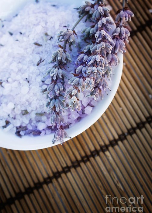 Lavender Greeting Card featuring the photograph Spa Setting With Lavender Bath Salt by Mythja Photography